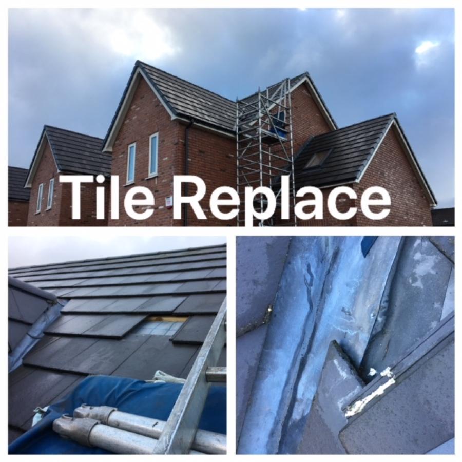 Slipped roofing tiles hyde Tameside