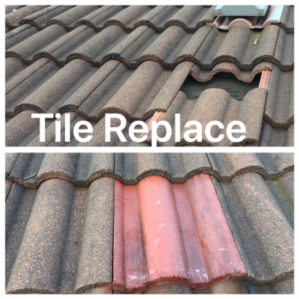 Roof tile replace Dukifield
