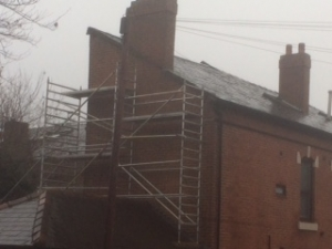 Scaffold build on roof Tameside